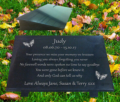 Granite Memorial Plaque Grave Marker with Butterfly Design