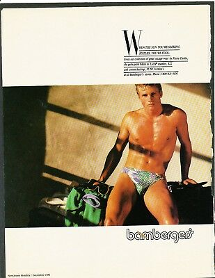 original magazine ad, 1984  LGBT, homoerotic, NJ Monthly, Bamberger's