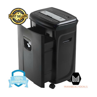 Paper Card Shredder Cutting 12 Sheet Crosscut with Basket Black for Home Office