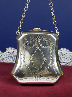 Antique Edwardian Silver Plated Engraved Evening Purse ~ Finger Ring Purse