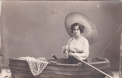 EGYPT OLD VINTAGE PHOTOGRAPH - lady with a boat and an umbrella in the studio
