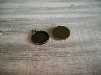 50 x 16mm Round Pendant Setting Base Blank Trays for Cabochons Antique Bronze UK