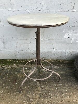 French, Vintage, Metal Bistro Table, Industrial Shabby,