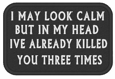 """E0049 Military Style Embroidered Morale Patch Funny   Slogan  """"in My Head"""""""