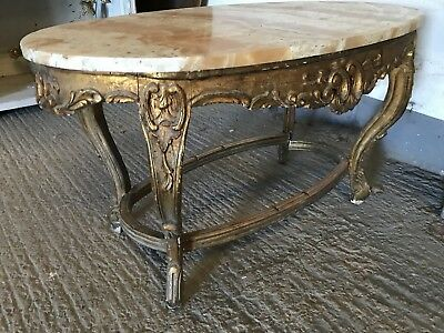 Beautiful, Antique, French Marble Top Gilt Coffee Table, Vintage, Rare