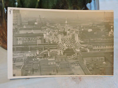 RARE old CONEY ISLAND Real Photo RPPC Post Card LUNA PARK Gravesend Brooklyn NYC