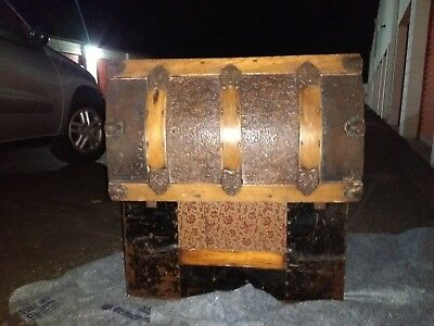 locking ANTIQUE WOODEN TRAVELING CHEST WITH METAL FITTINGS 19 century