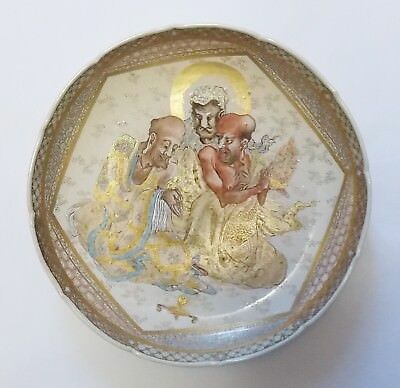 Great Antique 19th century Japanese Satsuma Plate With Three Immortals