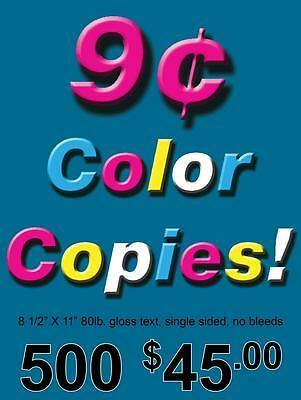 500 Single Sided Full Color Glossy Copies 8.5 x 11