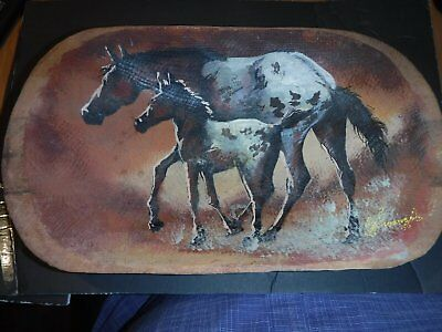 VINTAGE WESTERN HAULAPAI ARTIST SIGNED PAINTED HORSES CRAFTED BOWLS Dated 56