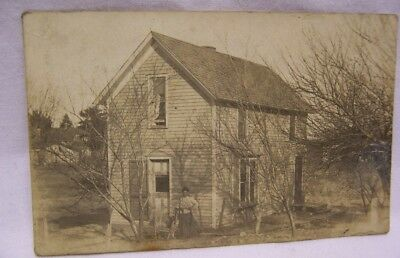 1900's Young Black Woman in Front of 2 Story House Northeast Kansas RPPC