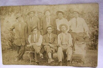 1910 Topeka Kansas Group of Young Afro American Men w/ Baby RPPC