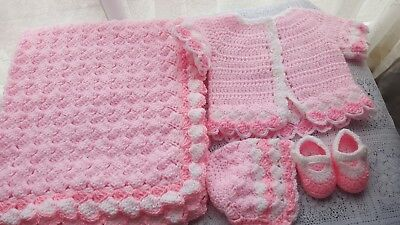 Hand-crochet-baby- cardigan,blanket,bonnet and shoes-in-slanting-stitches