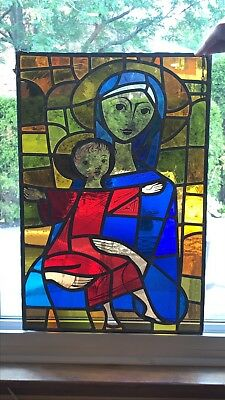 Vintage Stained Glass Window Panel 16x24 Mary & Jesus