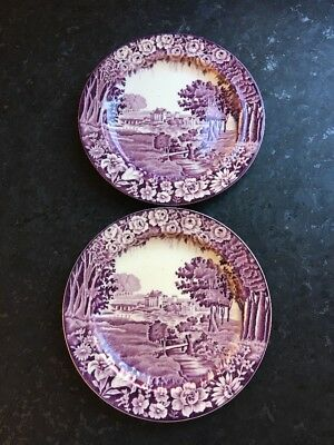 2 Enoch Woods RUBENS Salad Plates Purple Mulberry Castles Woods & Sons England
