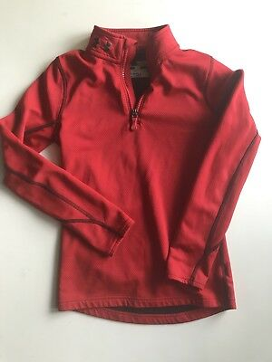 Boy's Red Under Armour Cold Gear 1/4 Zip Sweater Jacket Shirt Size Youth S YSM