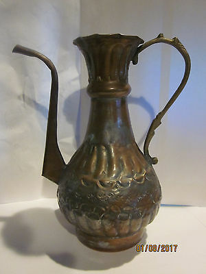 ANTIQUE VINTAGE EGYPTIAN HAND MADE in EGYPT HAMMERED TIN COPPER PITCHER JUG