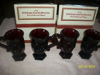 4 Vintage AVON Cape Cod 1876 RUBY RED Pedestal Glass Coffee Cups Mugs Handle