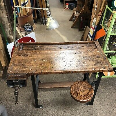 Vintage Industrial SPVS Workbench Cast Iron Oak With Swivel Out Stool And Vice