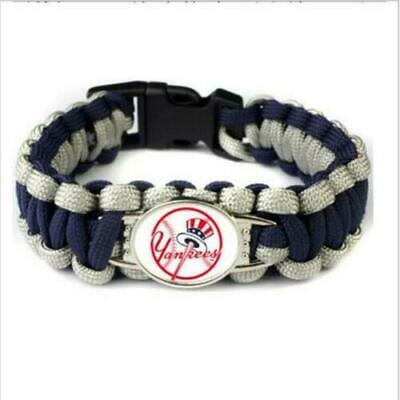 New York Yankees Paracord Survival Bracelet With Custom Enamel Logo