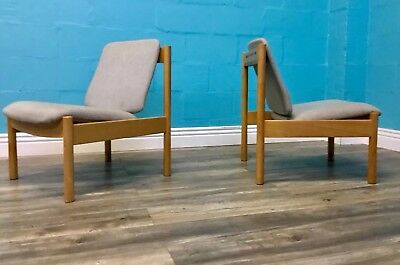 Retro Very Stylish Vintage Solid Beech Pair Of Blonde Ercol Armchairs
