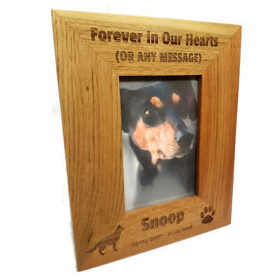 Solid Oak Wood Photo Frame Personalised Wooden Memorial Frame For Pet Dog or Cat