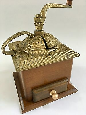Authentic Vintage Cast-Brass Top Plate+Side Handle+Arm Wood Coffee Mill/Grinder