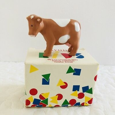 Vtg Avon Kids My First Christmas Story Nativity Rubber Cow Animal Figure 1993
