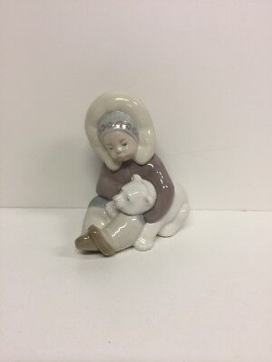 "ESKIMO BOY WITH POLAR BEAR CUB, Over 4.75"" High"