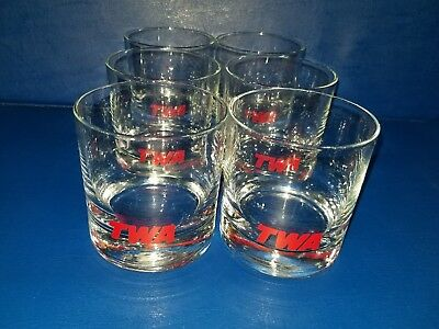 Vintage TWA Rock Glasses Lot of 6