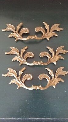 3 Vintage Antique Cast Brass Handle Pull Dresser Drawer Cabinet Pulls 8""