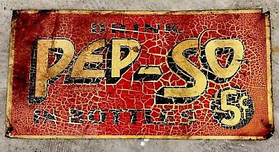 Rare Drink PEP-SO In Bottles 5 Cents Metal Sign Obscure Soft Drink Soda PEPSO