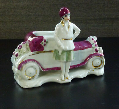 Rar Vase Porzellan Auto Oldtimer Art Deco porcelain car ~1930 automobile