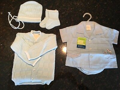 Vintage Baby Boy Clothing ~ Sweater Set w/Hat & Booties, and Short Sleeve Outfit
