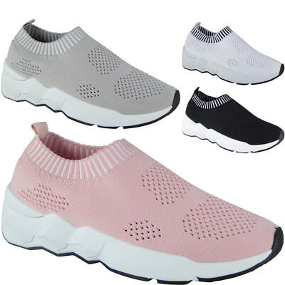 Ladies Running Trainers Womens Slip On Flat Comfy Fitness Gym Sports Shoes Size