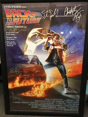 """Back to the future poster 9 signed 27""""x40"""" Michael j Fox Spielberg & more"""