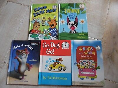 5 DR. SEUSS BOOKS for beginners: Go Dog Go, 4 Pups and a Worm, Toad Eats Out...