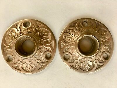 2 Antique Victorian Brass Door Knob Rosette Escutcheon Back Plates
