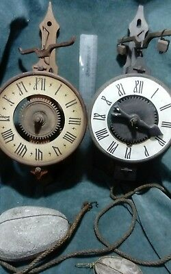 Two interesting  verge and folliot escapement CLOCKs  rock drive weights