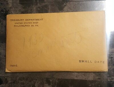 1960 U.S. MINT SILVER PROOF SET Small Date - Complete w/Envelope...