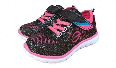 Toddler Girl Pink Black Sneakers Athletic Shoes Size 9