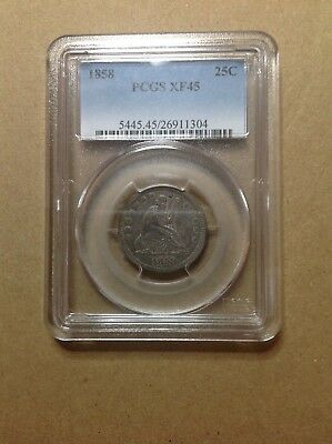 1858 PCGS XF-45 Seated Liberty Quarter Some Toning