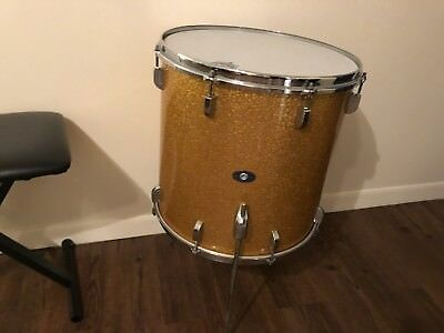 Vintage Leedy Floor Tom Drum 16x16 Shelly Manne Gold Sparkle Pearl 1960's