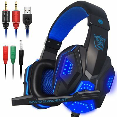 Gaming Headset with Mic 35mm PC Stereo Gaming Headset for PS4  Xbox One S Blue