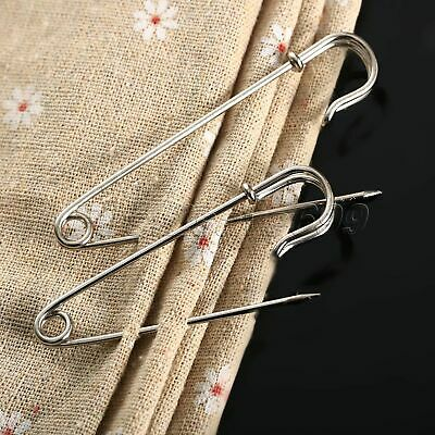 Hot 10Pcs 65/75mm Silver Large Metal Safety Pins Brooch Badge Sewing Crafts DIY