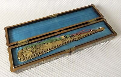 Important Antique Hand Painted Chinese Gilt Lacquer Fan & Box, Qing Dynasty 1840