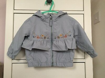 Pale Powder Blue Frill Floral Hooded Raincoat Jacket NEXT Girls 6-9 Months