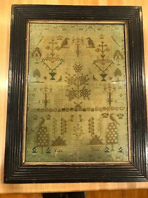 19th Century Framed English Silk on Linen Sampler