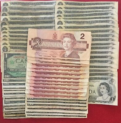 Lot of 81 Canadian Dollars CAD Canada Currency 1954 1967 1973 1974 1986