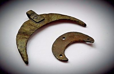 LARGE & SMALL BRONZE VIKING CRESCENTIC & LUNATE PENDANTs 10th A.D.
